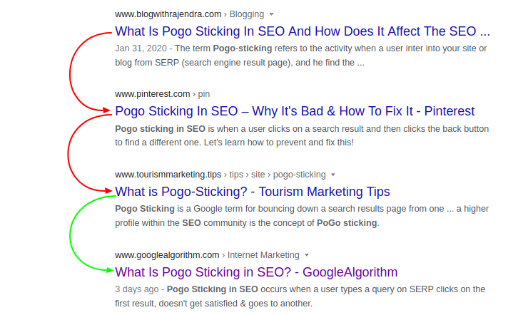 What Is Pogo Sticking in SEO Google Search - GoogleAlgorithm